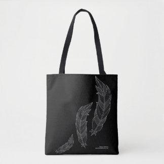 Bolsa Tote Saco preto cinzento do esboço floral da arte da