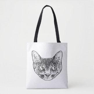 Bolsa Tote Saco preto e branco do gatinho