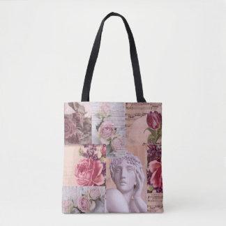 Bolsa Tote Saco retro cor-de-rosa chique da colagem para a