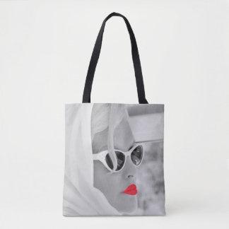 Bolsa Tote Saco retro da arte gráfica da mulher dos lábios