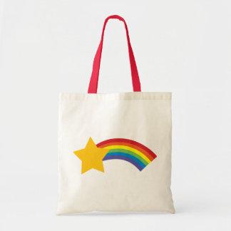 Bolsa Tote saco retro da estrela de tiro do arco-íris do pop