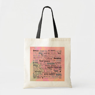 Bolsa Tote saco reusável de inspiração das palavras