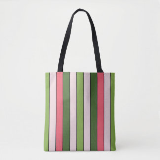 Bolsa Tote Saco reusável do rosa verde e coral da listra