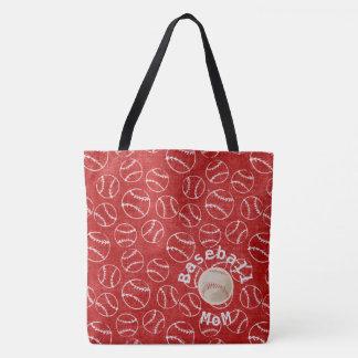 Bolsa Tote Saco vermelho do impressão da mamã do basebol