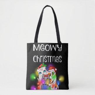Bolsa Tote Sacola 2 das luzes de Natal e dos gatos do papai