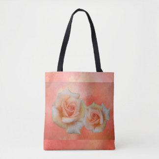 Bolsa Tote Sacola abstrata dos rosas alaranjados