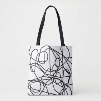 Bolsa Tote Sacola abstrata preto e branco dos Scribblings
