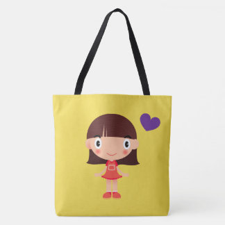 Bolsa Tote Sacola adorável da menina dos desenhos animados e