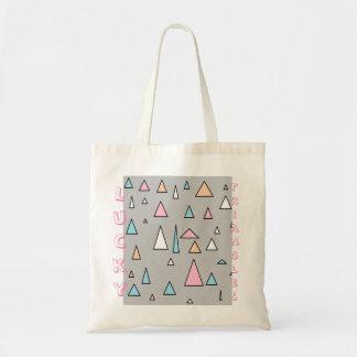 Bolsa Tote Sacola afortunada das cores Pastel dos triângulos