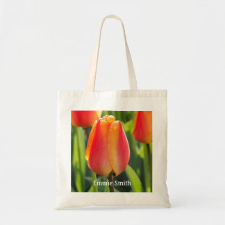 Bolsa Tote Sacola alaranjada personalizada das tulipas