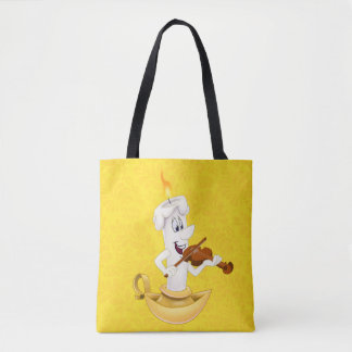 Bolsa Tote Sacola amarela com vela dos desenhos animados