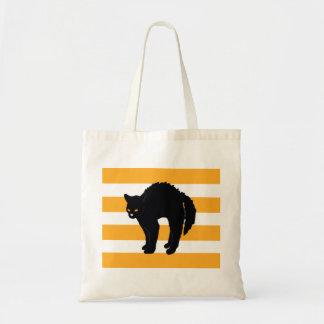 Bolsa Tote Sacola assustador do Dia das Bruxas do gato preto