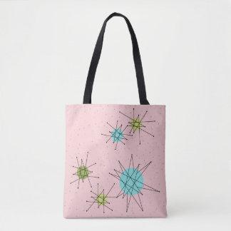 Bolsa Tote Sacola atômica icónica cor-de-rosa de Starbursts