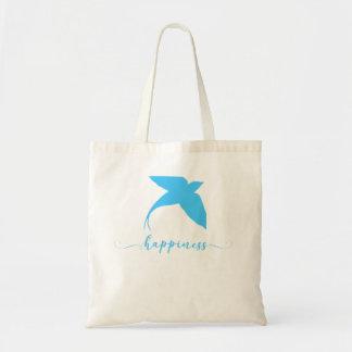 Bolsa Tote Sacola azul abstrata do design do pássaro da
