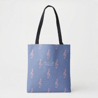 Bolsa Tote sacola azul bonita com notas musicais cor-de-rosa