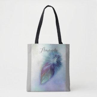 Bolsa Tote sacola azul bonito do costume da arte da pena