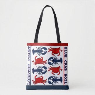 Bolsa Tote Sacola azul branca vermelha de pano do caranguejo
