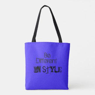 Bolsa Tote Sacola azul da cor com elementos e estilo