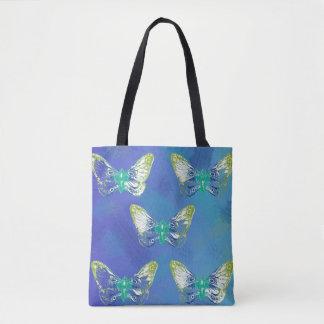 Bolsa Tote Sacola azul do design da borboleta do selo