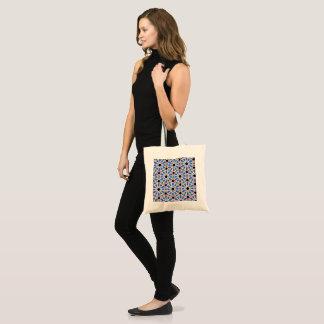 Bolsa Tote Sacola azul do design geométrico (natural)