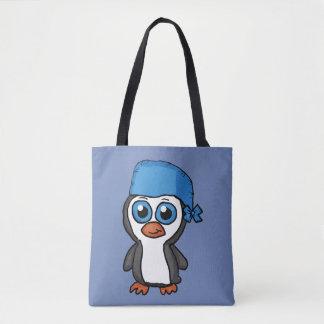 Bolsa Tote Sacola azul do pinguim do Bandana