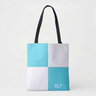 Bolsa Tote Sacola azul e branca feita sob encomenda