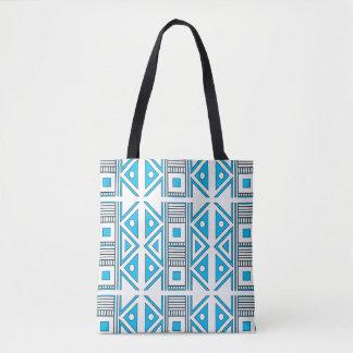 Bolsa Tote Sacola azul e branca geométrica