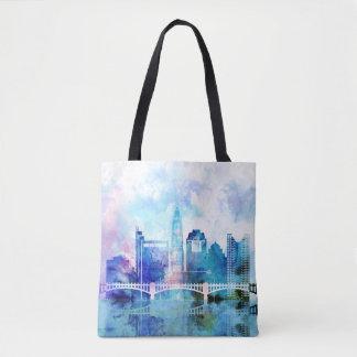 Bolsa Tote Sacola azul e roxa da aguarela