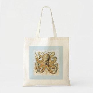 Bolsa Tote Sacola azul pálido & amarela retro do impressão do