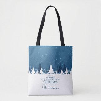 Bolsa Tote Sacola azul personalizada do Feliz Natal  