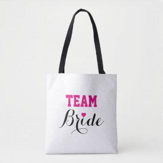 Bolsa Tote Sacola B do coração do rosa quente da noiva da