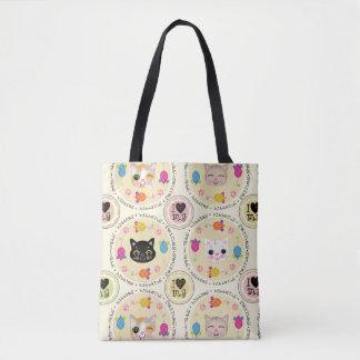 Bolsa Tote Sacola bonito do gatinho dos desenhos animados do
