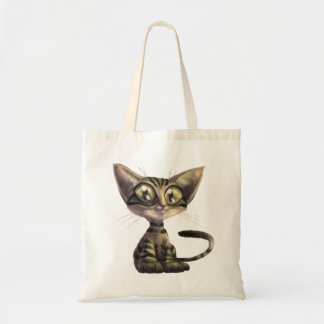 Bolsa Tote Sacola bonito do orçamento do gato da caricatura