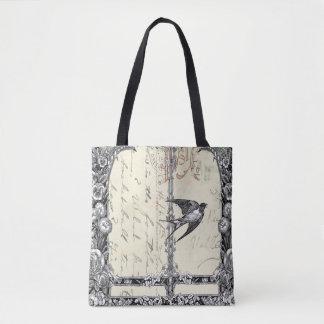 Bolsa Tote Sacola bonito do pássaro do estilo do vintage do