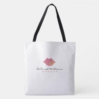 Bolsa Tote sacola branca agradável com seus nome & lábios