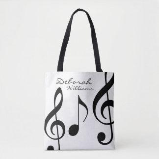 Bolsa Tote sacola branca bonita com notas musicais pretas