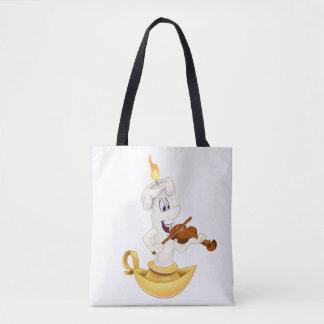 Bolsa Tote sacola branca com vela dos desenhos animados