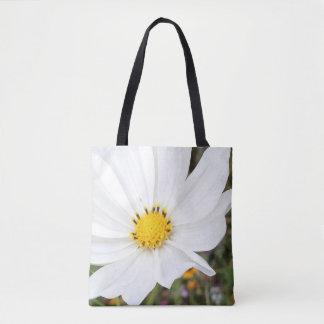 Bolsa Tote Sacola branca da flor do cosmos