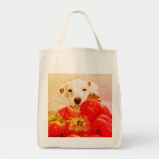 Bolsa Tote Sacola branca do cão e do mantimento das morangos