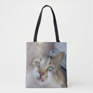 Bolsa Tote Sacola branca do gato do gato malhado