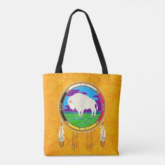 Bolsa Tote Sacola branca do nativo americano do búfalo