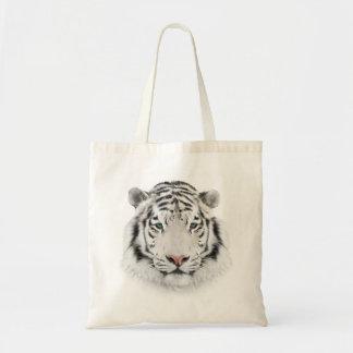 Bolsa Tote Sacola branca do orçamento da cabeça do tigre