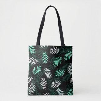 Bolsa Tote Sacola branca e verde elegante das folhas de