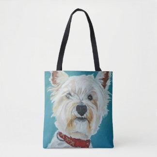 Bolsa Tote Sacola branca macia do cão de Westie