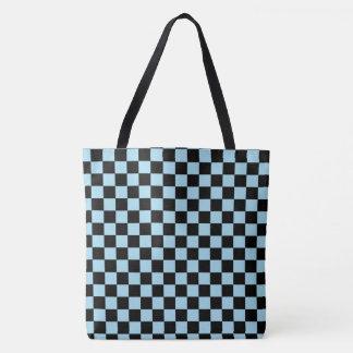 Bolsa Tote Sacola Checkered azul e preta Pastel do teste