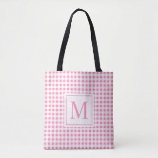 Bolsa Tote Sacola Checkered cor-de-rosa bonita do monograma |