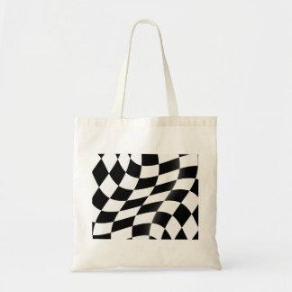 Bolsa Tote Sacola Checkered preto e branco da bandeira