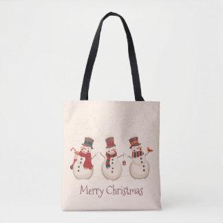 Bolsa Tote Sacola clássica do Natal dos bonecos de neve do