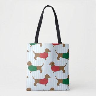 Bolsa Tote Sacola colorida bonito do viagem dos cães dos