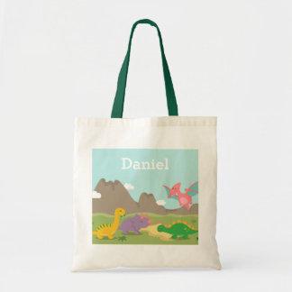 Bolsa Tote Sacola colorida bonito dos miúdos dos dinossauros